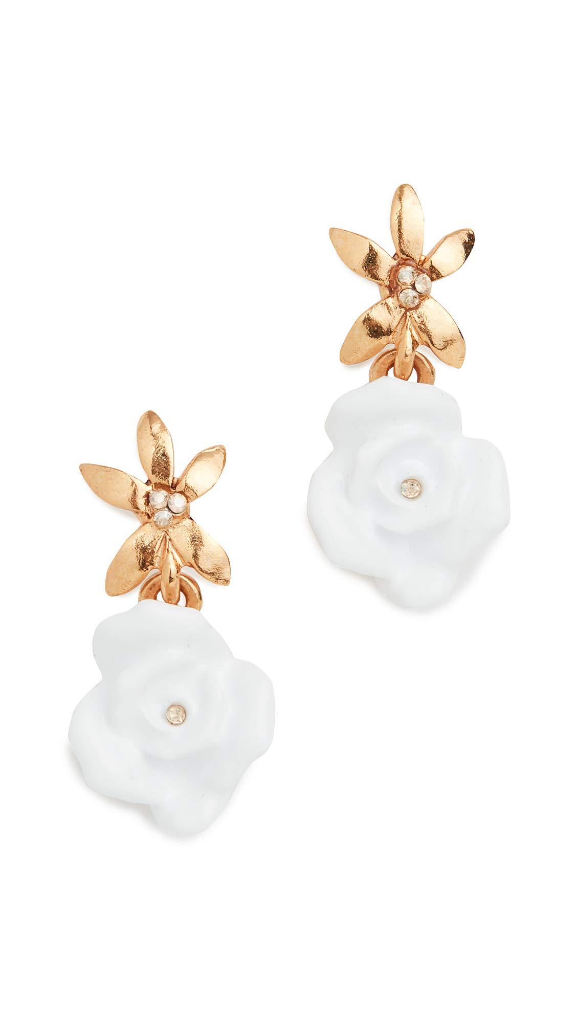 Oscar de la Renta Women's Resin Rose with Pointed Flower Earrings