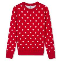 BOBOYOYO Girls's Sweater Long Sleeve Crew Neck Cotton Pullover Knit Sweater with Love Heart Pattern 3-12Y