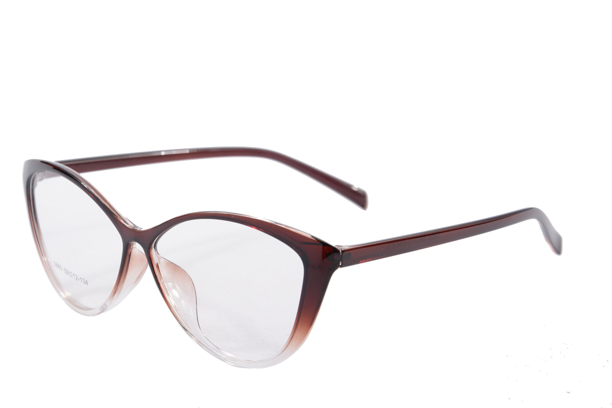 Ladies Cateye Glasses Frames Blue Blocking Clear Lens Computer Reading Glasses-5865(brown,anti blue light)