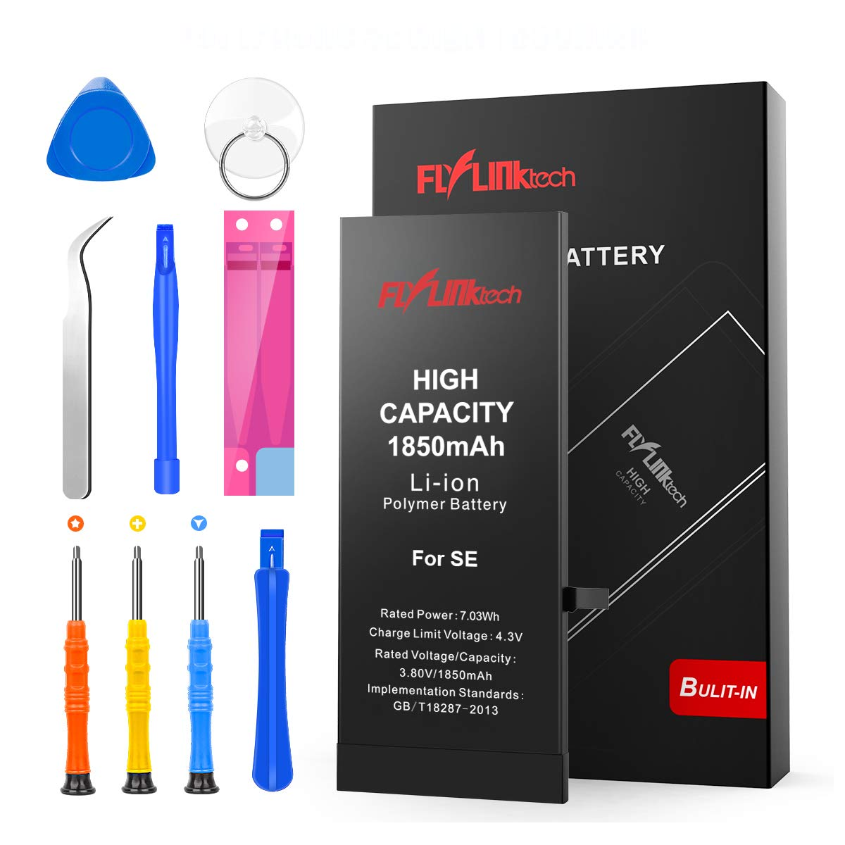Flylinktech for iPhone Se Battery 1850mAh High Capacity Li-ion Polymer with All Repair Replacement Kit Tools