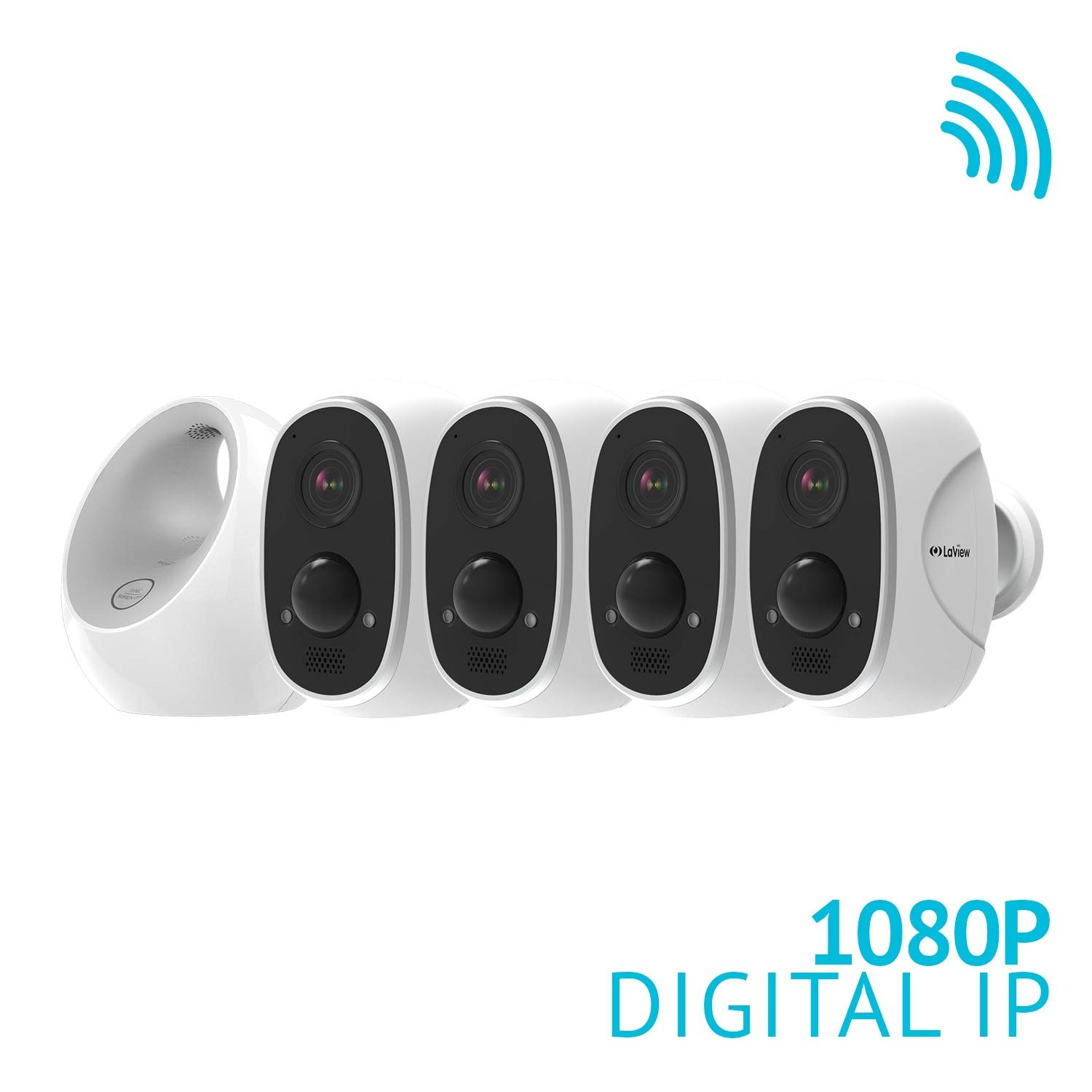 LaView ONE Link 1080P Wireless Security Camera System, Four Battery Powered Security Cameras, Two Way Audio, PIR Thermal Detection, Compatible with Alexa, Weatherproof Home Security
