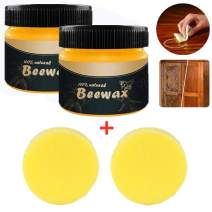 Wood Seasoning Beeswax - Traditional Beeswax Polish for Wood & Furniture Natural Unscented Beeswax Furniture Wood Polish and Conditioner (2PCS)