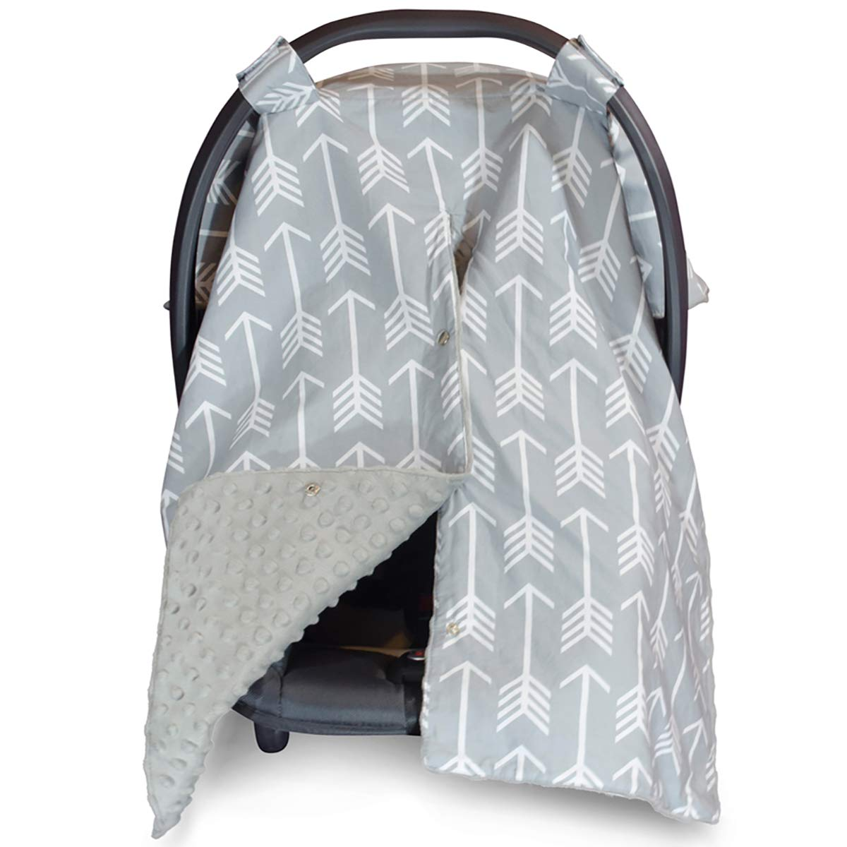 2 in 1 Carseat Canopy and Nursing Cover Up with Peekaboo Opening   Large Infant Car Seat Canopy for Boy or Girl   Best Baby Shower Gift for Breastfeeding Moms   Arrow Pattern with Grey Minky