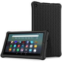 TiMOVO Case Fits All-New Fire 7 Tablet (9th Generation, 2019 Release) - Anti Slip Shock Proof Soft Silicone Shell Cover Kids Protective Case Fit Amazon Fire 7 Tablet - Black