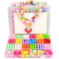 Beads Art Crafts Toys, DIY Beads Kits 24 Different Types and Shapes Colorful Acrylic Beads for Girls Children Necklace and Bracelet Colorful Beading Jewelry Sets with Accessories for Kids (500 Beads)