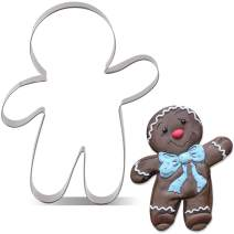 LILIAO Christmas Waving Gingerbread Man Cookie Cutter - Extra Large: 4.2 x 5.6 inches - Stainless Steel