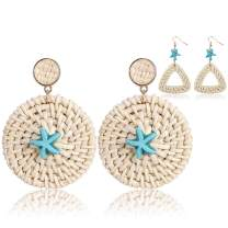 Statement Earrings for Women Fashion Lightweight - Rattan Weave Straw Wicker Handmade Drop Dangle Summer Tassel Boho Earrings Jewelry,2 Pairs