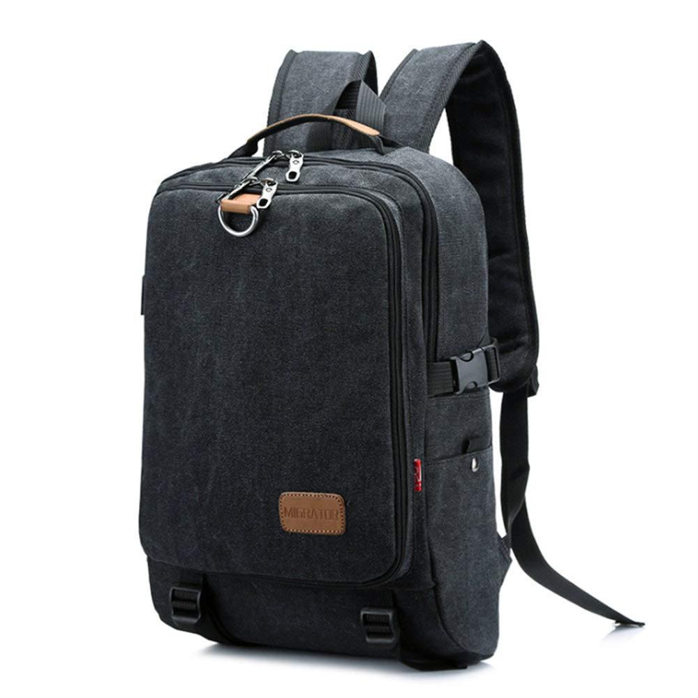 OCCIENTEC Vintage Casual Canvas Backpack Travel Hiking Rucksack fit 14 Inch Laptop School College Bookbag for Men and Women (Black)