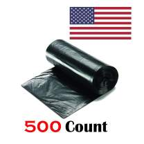 """Ox Plastics 24-30 Gallon Trash Can Liner, High Density 30""""x37"""", 500 Bags/Rolls Per Case, Easy To Use and Store, For Bathroom, Kitchen, or Office Wastebaskets (10 Microns, Black)"""