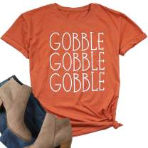 FAYALEQ Thanksgiving Shirt for Women Gobble Gobble Short Sleeve Letter Print Funny Graphic Tees Thanksgiving T-Shirts