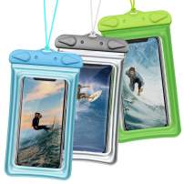iSPECLE Universal Waterproof Case, 3 Pack Floating Waterproof Phone Pouch Transparent Water Proof Cell Phone Pouch Dry Bag with Lanyard for iPhone Xs Max XR X 8 7 6 Plus (Grey+Green+Blue)