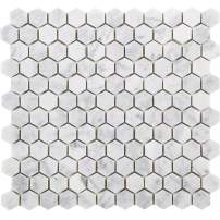 Diflart Carrara Italian White Bianco Carrera 1 Inch Hexagon Marble Mosaic Tile Polished Backsplash Tiles for Kitchen Bathroom Wall Floor, 5 Sheets/Box