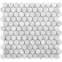 Diflart Carrara Italian White Bianco Carrera 1 Inch Hexagon Marble Mosaic Tile Polished Backsplash Tiles for Kitchen Bathroom Wall Floor, 5 Sheets/Box