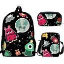 School Backpacks Girls and Boys Alien Print Backpack with Shoulder Bag Pencil Case Kids 3 in 1 Bookbags (HD1055)