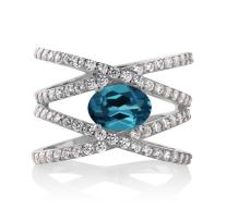 Gem Stone King 925 Sterling Silver London Blue Topaz Women's Engagement Ring (2.23 Ct Oval, Gemstone Birthstone, Available 5,6,7,8,9)