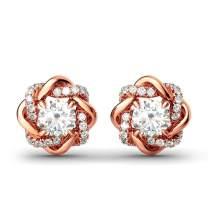 Jeulia Flower Rose Gold Plated Earrings 925 Sterling Silver Cushion Cut Cubic Zirconia Stud Earrings for Women Girls