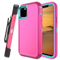 Lanyos Compatible iPhone 11 Pro Max Holster Case,Full Body Protection Hard PC Cover Built in Kickstand and 360 Degree Belt Clip Holster (6.5 inch 2019) (Pink-Blue)