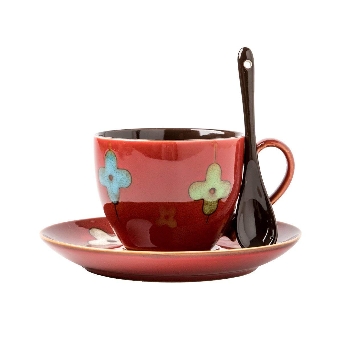 Verdental Drum Shaped Ceramic Mini Coffee Mugs with Spoon and Saucer (250ML Red)
