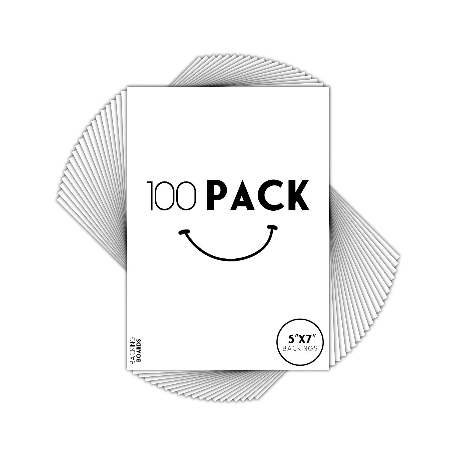 Golden State Art, Pack of 100, 5x7 Backer Board Only - for Art, Photos, Print - 4-Ply - 100 Single Backing Boards
