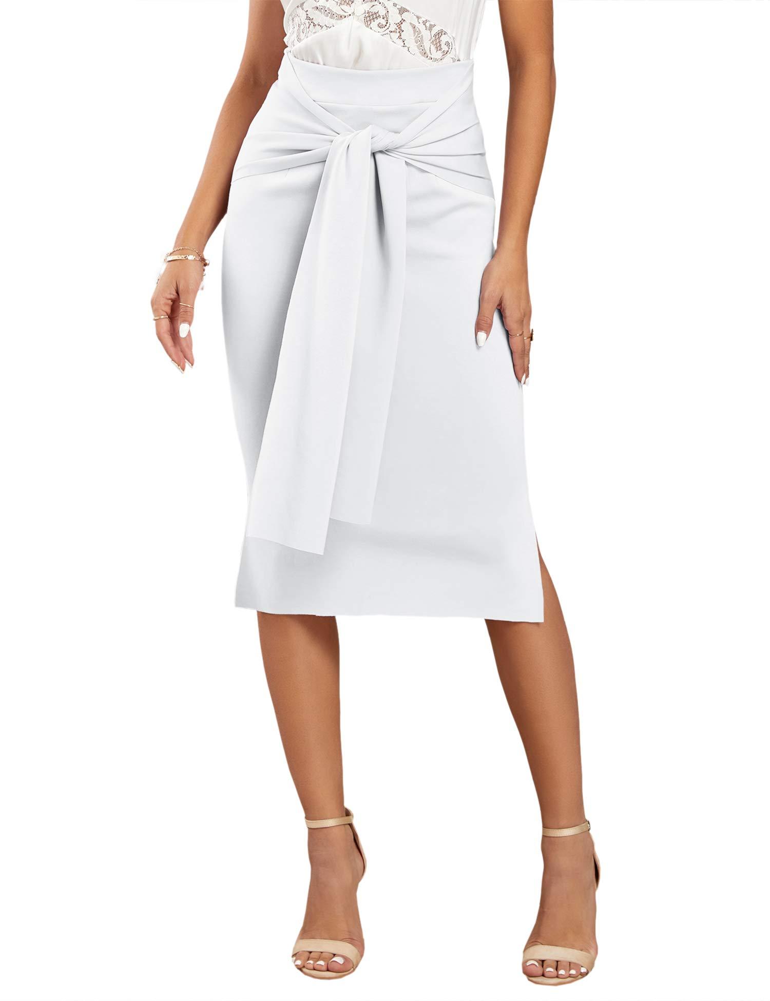 Foshow Women's Elegant Tie Front Pencil Skirt Banded Knee Length High Waist Slit Work Bodycon