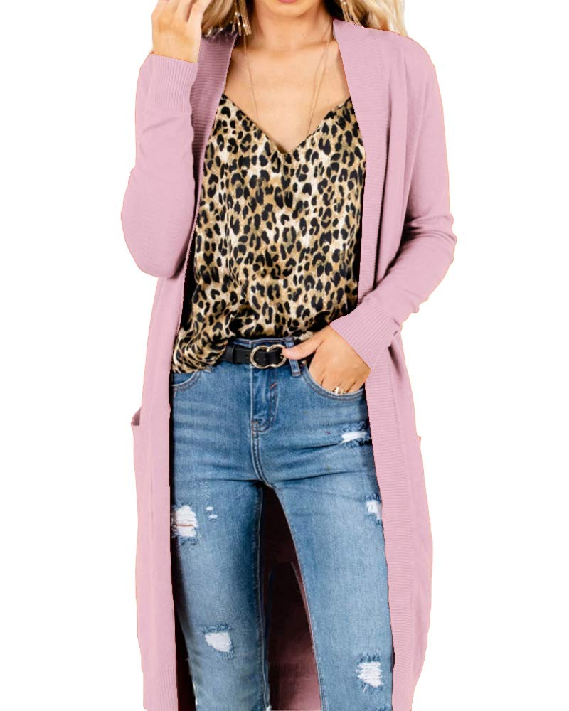Women's Winter Long Sleeve Open Front Long Knit Sweater Cardigan with Pockets