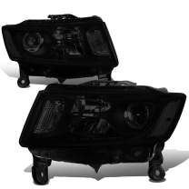 Replacement for 14-16 Jeep Grand Cherokee Pair Tinted Housing Clear Corner Projector Headlight/Lamps