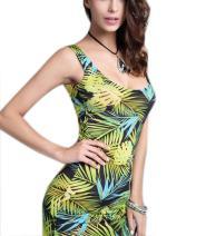YiYaYo Womens Boho Bodycon Summer Tropical Floral Print Tunic Beach Maxi Dress