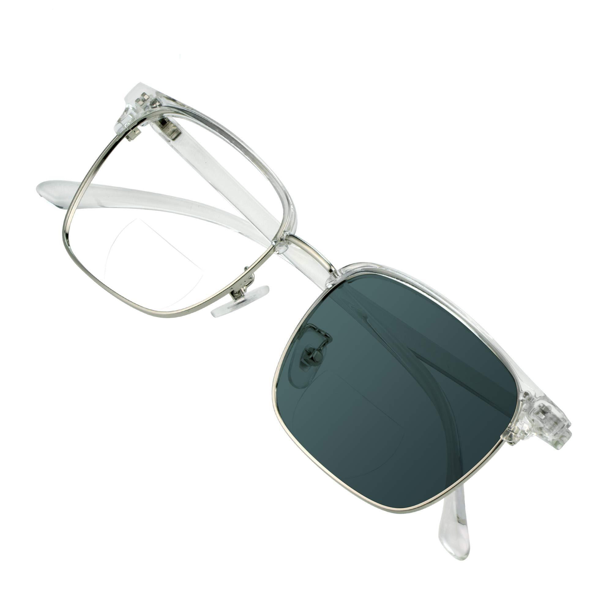 VisionGlobal Bifocal Reading Glasses Photochromic Dark Gray Sunglasses, Classic Retro Square Eyewear 100% UV Protection Reduce Fatigue (Up+0.00/Down+1.00)
