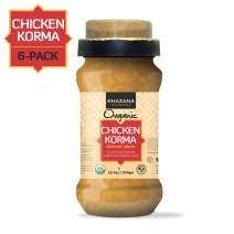 Khazana ORGANIC Chicken Korma Indian Simmer Sauce - 6 x 12.7oz Jars | Non-GMO, Vegan, Gluten Free, Kosher | Easy to Cook Authentic Indian Meals at Home!