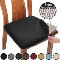 BUYUE Chair Covers for Dining Room Washable Jacquard Stretch Slipcover Kitchen Seat Cushions Protector for Upholstered Chair - Set of 6, Black