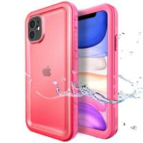 SPORTLINK Waterproof Case for iPhone 11, Full Body Heavy Duty Protection Full Sealed Cover Shockproof Dustproof Built-in Clear Screen Protector Rugged Case for iPhone 11 6.1 Inch (Pink)
