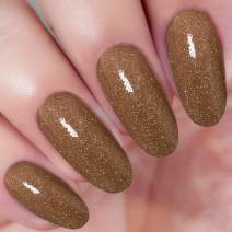 2 In 1 Dip Acrylic Powder Brown Glitter Gold (Added Vitamin and Calcium) I.B.N Dipping Powder Color 1 Ounce, Non-Toxic & Odor-Free, without UV LED Lamp Cured (92)