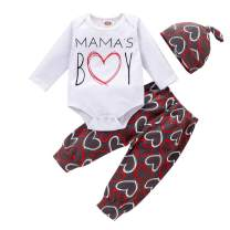 Newborn Infant Baby Boys Valentine's Day Outfits Mama's BOY Printed Romper+Long Pants+Little Man Hat 3Pcs Clothes Set