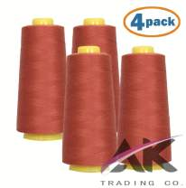 AK Trading 4-Pack TERACOTTA All Purpose Sewing Thread Cones (6000 Yards Each) of High Tensile Polyester Thread Spools for Sewing, Quilting, Serger Machines, Overlock, Merrow & Hand Embroidery.