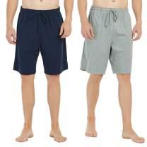 U2SKIIN Mens Cotton Pajama Shorts, Lightweight Lounge Pant with Pockets Soft Sleep Pj Shorts for Men