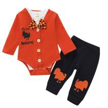 Toddler Baby Boys My First Thanksgiving Outfit Baby Kids Gentleman Thanksgiving Bodysuit Romper + Pants Clothes 3Pcs Sets