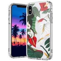 MOSNOVO iPhone Xs Max Case, Anthurium Floral Flower Clear Design Printed Transparent Hard Back Case with TPU Bumper Protective Case Cover for iPhone Xs Max