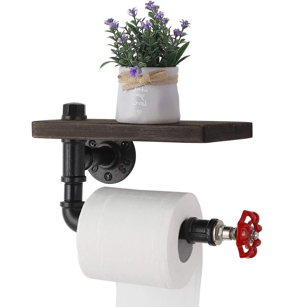 JS NOVA JUNS Paper Tower Holder Wall Mount, Industrial Toilet Paper Holder with Wood Shelf, Wrought Iron Pipe Tissue Holder for Bathroom, Washroom, Black