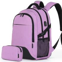 Travel Laptop Business Backpack Anti Theft College School Computer Bagpack Keyhole zipper Design, Fits 15.6 Inch Notebook with USB Charging Port & Reinforce Straps Bonus a Small pencil Case,Purple