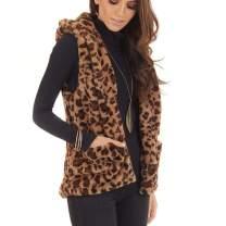 ManxiVoo Women's Autumn Winter Warm Hooded Sleeveless Leopard Print Faux Fur Vests Top with Pocket