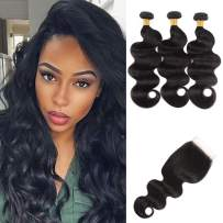 NUOF 9A Brazilian Body Wave 3 Bundles with Closure (10 12 14 + 8 inch Free Part)100% Unprocessed Virgin Human Hair Weave Bundles with 4x4 HD Lace Closure