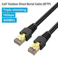 Phizli Cat7 Ethernet Cable 300ft, Outdoor Shielded Grounded UV Resistant Waterproof Buried-able Network Cord 10 Gigabit 600MHz Triple Shielded (SFTP) with OFC for Modem, Router, LAN, CCTV
