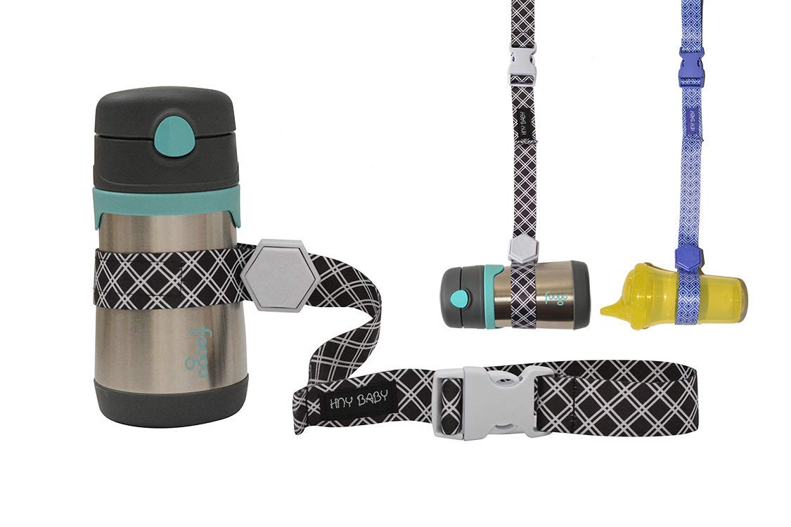 Sippy Cup Straps for Baby Bottle Toy Leash 4 Pack for Stroller High Chair Strap (Blue/Black)