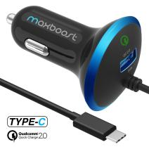 Maxboost USB Car Charger 33W with Quick Charge 2.0 Port + Build-in USB Type C Cable Compatible with iPhone XR XS Max X 8 7 6s 6, iPad, Galaxy S10 S10+ S10e 5G S9 / Plus, Note 9 and More (M-AL-TC-01)