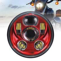 "Atubeix 5-3/4 5.75"" LED Headlight Motorcycle Lamp For Iron 883 Dyna Sportster Low Rider Triple Wide Glide LED Projector Driving Light (Red color Diamater 143MM)"