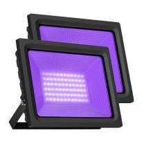 UV Black Light, Gianor 80W UV LED Flood Light Bulb Outdoor, IP66 Waterproof Disco Blacklights for Fishing/Aquarium/Curing, Body Paint, Fluorescent Poster, Neon Glow, Stage Lighting(Pack 2)