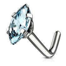MoBody 20G Marquise CZ Top L-Shape Nose Ring Stud 316L Surgical Steel Cubic Zirconia Nose Pin Piercing