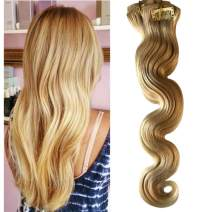 "Munx 16"" Clip on Human Hair Extensions Body Wave Double Weft Clip in Hair Extension Real Hair Curly Balayage Brazilian Virgin Hair Extension #613 Bleach Blonde 8 Pieces 120G for White and Black Women"