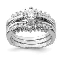 925 Sterling Silver Cubic Zirconia Cz Band Ring Set Engagement Wedding Fine Jewelry For Women Gifts For Her
