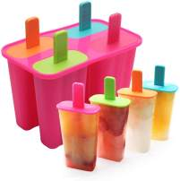 Silicone Popsicle Molds Ice Pop Molds Maker BPA Free - Set of 4 - Food Grade Ice Cream Moulds Ice Pops Shapes for Homemade Popsicle, Dishwasher Safe -Rose Red
